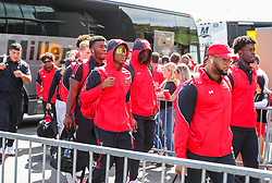 Oct 2, 2021; Morgantown, West Virginia, USA; Texas Tech Red Raiders players walk into the stadium prior to their game against the West Virginia Mountaineers at Mountaineer Field at Milan Puskar Stadium. Mandatory Credit: Ben Queen-USA TODAY Sports
