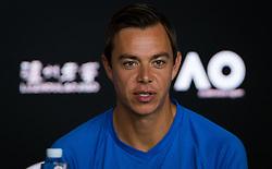 January 21, 2019 - Melbourne, AUSTRALIA - Sascha Bajin, coach of Naomi Osaka, talks to the media at the 2019 Australian Open Grand Slam tennis tournament (Credit Image: © AFP7 via ZUMA Wire)