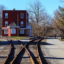 Hanover Junction, PA, USA - February 28. 2016: President Abraham Lincoln stopped at Hanover Junction and changed railroads as he traveled to Gettysburg to deliver what would become known as the Gettysburg Address.