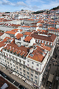 Main streets of Baixa district,  seen from the walkway at the top of Elevador de Sta. Justa, in central Lisbon.