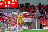 Bradford city goalkeeper Richard O'Donnell as shot from Doncaster Rovers midfielder Ben Whiteman goes high over the bar during the EFL Sky Bet League 1 match between Doncaster Rovers and Bradford City at the Keepmoat Stadium, Doncaster, England on 22 September 2018.