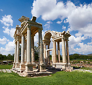 Tetrapylon monumental gateway to  the Temple of Aphrodite. The Tetrapylon consisted of four rows of four columns and It connects the major street to the sacred way heading toward the sanctuary of Aphrodite. <br /> <br /> Aphrodisias Archaeological Site, Aydin Province, Turkey.