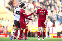 Mohamed Salah of Liverpool celebrates victory over Fulham with James Milner of Liverpool - Mandatory by-line: Robbie Stephenson/JMP - 11/11/2018 - FOOTBALL - Anfield - Liverpool, England - Liverpool v Fulham - Premier League