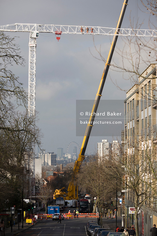 The erection of a crane that will construct the King's College Hospital helipad blocks Denmark Hill, south London. King's is home to the largest Major Trauma Centre in the South of England. It is also the 'hub' for the South East London, Kent and Medway (SELKaM) major trauma network, which covers 5.5 million people, or 7.8% of the UK population. The trauma team at King's regularly feature in the Channel 4 documentary series '24 Hours in A&E', which is filmed at the hospital.