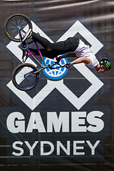 October 19, 2018 - Sydney, NSW, U.S. - SYDNEY, NSW - OCTOBER 19: Pat Casey of United States preforms a backflip in the BMX Dirt qualifying at The X-Games at Spotless Stadium in Sydney on October 19, 2018. (Photo by Speed Media/Icon Sportswire) (Credit Image: © Speed Media/Icon SMI via ZUMA Press)