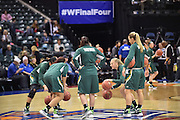 April 4, 2016; Indianapolis, Ind.; The UAA post players dribble at half court before the NCAA Division II Women's Basketball National Championship game at Bankers Life Fieldhouse between UAA and Lubbock Christian. The Seawolves lost to the Lady Chaps 78-73.