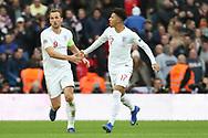 England's Jadon Sancho celebrating with England's Harry Kane after England's Jesse Lingard scored during the UEFA Nations League match between England and Croatia at Wembley Stadium, London, England on 18 November 2018.
