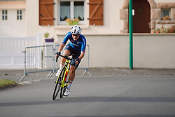 Elena Pirrone (ITA) in a solo move at the 2020 UEC Road European Championships - Under 23 Women Road Race, a 81.9 km road race in Plouay, France on August 26, 2020. Photo by Sean Robinson/velofocus.com