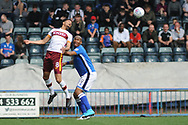 Bradford City midfielder Timothee Dieng (8)  and Rochdale Forward, Calvin Andrew (9) during the EFL Sky Bet League 1 match between Rochdale and Bradford City at Spotland, Rochdale, England on 21 April 2018. Picture by Mark Pollitt.