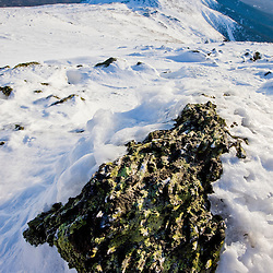 Ice on a boulder near the summit of Mount Washington in New Hampshire's White Mountains.