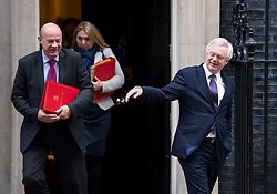 © Licensed to London News Pictures. 23/11/2016. London, UK. Secretary of State for Work and Pensions DAMIAN GREEN and Secretary of State for Exiting the European Union DAVID DAVIS MP leaves 10 Downing Street in London following a cabinet meeting before Chancellor Philip Hammond delivers his first Autumn statement to parliament. Photo credit: Ben Cawthra/LNP