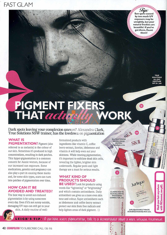 Single page editorial beauty feature about 'pigment fixers that actually work' in the March issue of Cosmopolitan magazine, Australia.  <br />