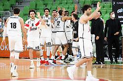 Players of Virtus celebrate during basketball match between KK Cedevita Olimpija (SLO) and Virtus Segafredo Bologna (ITA) in Top 16 Round 5 of 7DAYS Eurocup 2020/21, on March 2, 2021 in Arena Stozice, Ljubljana, Slovenia. Photo by Vid Ponikvar / Sportida