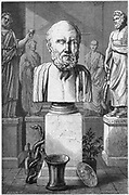 Hippocrates of Cos (c460-377 or 359 BC) Ancient Greek physician.  The 'Father of Medicine' who laid the foundations of a scientific basis for medicine. He taught that the four humours (blood, phlegm, black bile and yellow bile) were the main seats of disease. Engraving