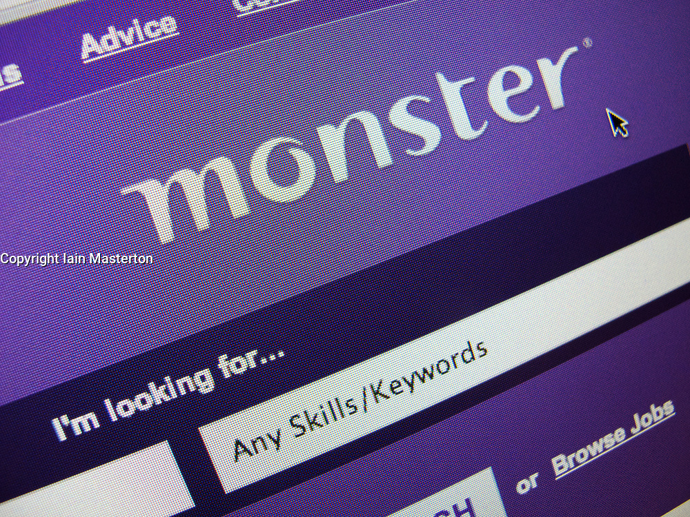 Detail of recruitment and employment website Monster homepage