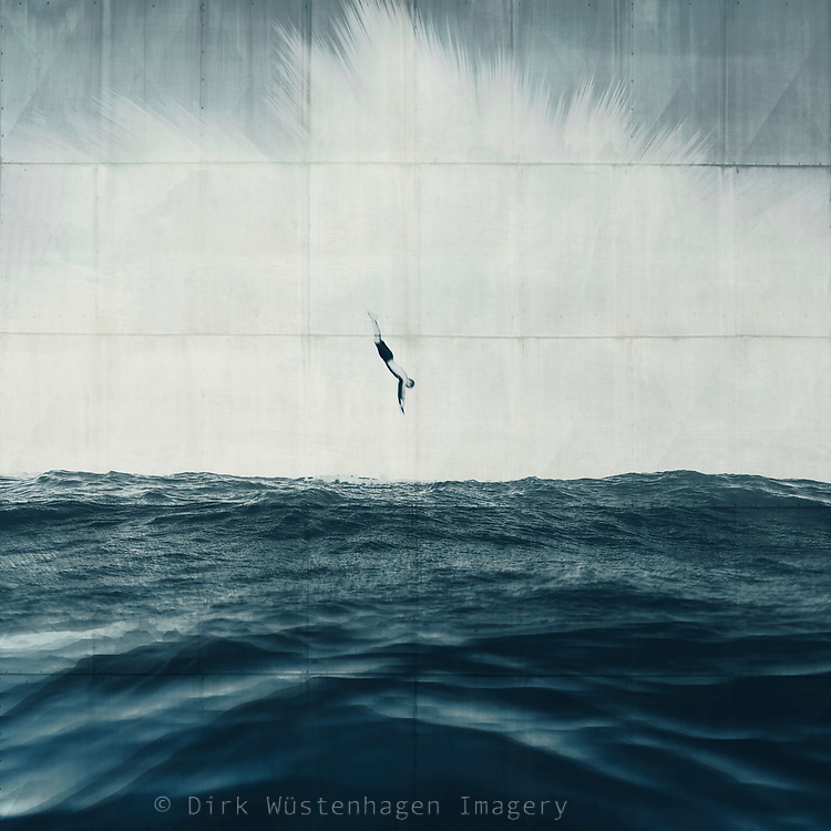 Man diving into the wild ocean - composite image with 3D effects<br /> Redbubble prints--> https://rdbl.co/2R7UOKn
