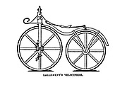 Lallement's Velocipede [Early bicycle with pedals on the front wheel] from The American bicycler: a manual for the observer, the learner, and the expert by Pratt, Charles E. (Charles Eadward), 1845-1898. Publication date 1879. Publisher Boston, Houghton, Osgood and company