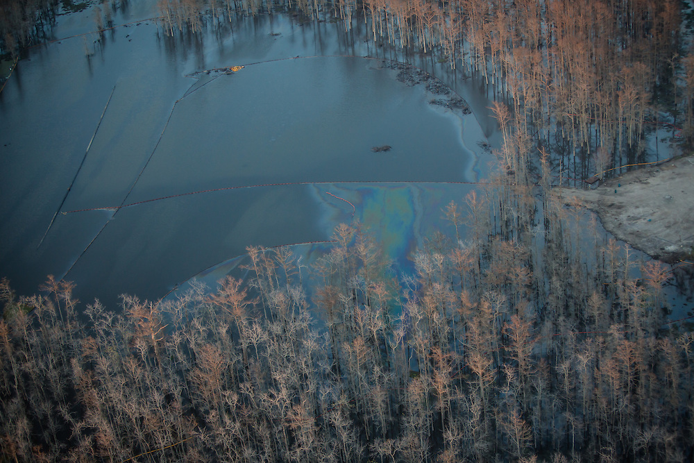 Oil sheen on the surface of the Bayou Corne sinkhole seen  on land Texas Brine leases where the salt dome they were mining collapsed. Thought Texas Brine has not officially taken responsibility for the sinkhole they have acknowledge there is a connection to the dome collapse and the natural gas escaping in the area.