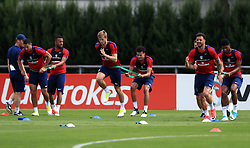 England's Eric Dier and Deli Alli (centre) during the training session at Stade Omnisport.