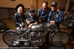 Sosa Metal Works Cristian Sosa messing with friends around his custom 1950 Harley-Davidson Panhead that shows off his amazing shaping skills. At the Handbuilt Show. Austin, Texas USA. Saturday, April 13, 2019. Photography ©2019 Michael Lichter.