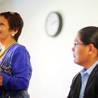090214  Adron Gardner<br /> <br /> Fannie Lowe Atcitty, left,  introduces herself as Navajo Nation vice president candidate as running mate Chris Deshchene looks on at the Navajoland Inn & Suites in St. Michaels Tuesday.