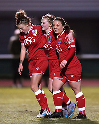 Poppy Wilson (centre) celebrates her debut goal for Bristol City Women - Mandatory by-line: Paul Knight/JMP - Mobile: 07966 386802 - 23/02/2016 -  FOOTBALL - Stoke Gifford Stadium - Bristol, England -  Bristol City Women v Notts County Ladies - Pre-season friendly