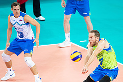 Tine Urnaut of Slovenia receiving ball during friendly volleyball match between Slovenia and Serbia in Arena Stozice on 2nd of September, 2019, Ljubljana, Slovenia. Photo by Grega Valancic / Sportida