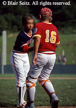 Little League Baseball World Series Play, Players Congratulate each other, Williamsport, PA