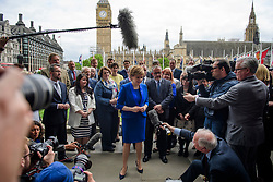© Licensed to London News Pictures. 12/06/2017. London, UK. SNP leader NICOLA STURGEON holds a photocall and press conference outside parliament with her newly elected MPs. Over the weekend British prime minister Theresa May formed a new cabinet and continues discussions with the DUP in an attempt to form a new government. Photo credit: Ben Cawthra/LNP