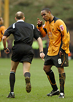 Photo: Ed Godden.<br />Wolverhampton Wanderers v Sheffield Wednesday. Coca Cola Championship. 25/03/2006. <br />Wolves' Paul Ince has words with the referee D. Drysdale.
