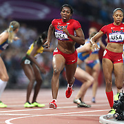 Francena McCorory, USA, in action during the  Women's 4 x 400 relay race won by the USA at the Olympic Stadium, Olympic Park, during the London 2012 Olympic games. London, UK. 11th August 2012. Photo Tim Clayton