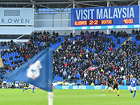Football - 2019 / 2020 Sky Bet (EFL) Championship - Cardiff City vs. Brentford<br /> <br /> Strong wind blows the touchline flags with SCOREBOARD SHOWING 2-2 DRAW, at The Cardiff City Stadium.<br /> <br /> COLORSPORT/WINSTON BYNORTH