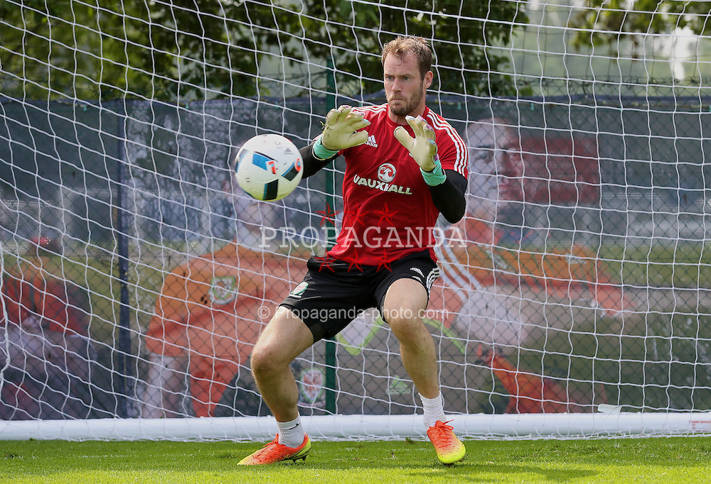 DINARD, FRANCE - Monday, June 6, 2016: Wales' goalkeeper Owain Fon Williams during a training session at their base in Dinard during the UEFA Euro 2016 Championship. (Pic by David Rawcliffe/Propaganda)