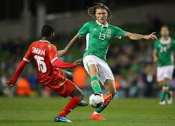 Ireland's Jeff Hendrick in action against Oman's Mataz Saleh Abd Raboh Bait - Mandatory by-line: Ken Sutton/JMP - 31/08/2016 - FOOTBALL - Aviva Stadium - Dublin,  - Republic of Ireland v Oman -