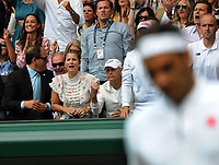 Tennis - 2019 Wimbledon Championships - Week Two, Sunday (Day Thirteen)<br /> <br /> Men's Singles, Final: Novak Djokovic (SRB) vs. Roger Federer (SUI)<br /> <br /> Roger Federer's wife, Mirka tries to spur him on, on Centre Court.<br /> <br /> COLORSPORT/ANDREW COWIE