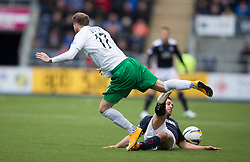 Hibernian's Martin Boyle and Falkirk's Tom Taiwo. <br /> Falkirk 0 v 3 Hibernian, Scottish Championship game played at The Falkirk Stadium 2/5/2015.