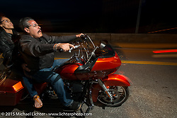 Riding in the Weir's at night during Laconia Motorcycle Week. Laconia, NH, USA. June 13, 2015.  Photography ©2015 Michael Lichter.