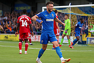 AFC Wimbledon defender Luke O'Neill (2) celebrating after goal during the EFL Sky Bet League 1 match between AFC Wimbledon and Accrington Stanley at the Cherry Red Records Stadium, Kingston, England on 17 August 2019.