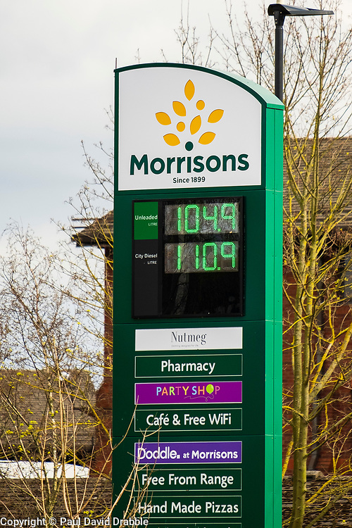 Sheffield Friday 3 April 2020 <br /> Coronavirus Covid-19 Pandemic drives the price of fuel down Petrol at £1.04.9 per liter and diesel at £1.10.9 Morrisons Ecclesfield Sheffield<br /> <br /> 3 April 2020<br /> <br /> www.pauldaviddrabble.co.uk<br /> All Images Copyright Paul David Drabble - <br /> All rights Reserved - <br /> Moral Rights Asserted -