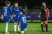 Ref gives Chelsea Ladies penalty spot kick after Ji So-Yun (10) was fouled during the UEFA Women's Champions League quarter final second leg match between Chelsea Ladies and Montpellier Feminines at the Kings Sports Ground, New Malden, United Kingdom on 28 March 2018. Picture by Robin Pope.