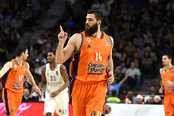 December 19, 2017 - Madrid, Madrid, Spain - Bojan Dubljevic, #14 of Valencia celebrates after scoring three points during the 2017/2018 Turkish Airlines EuroLeague Regular Season Round 13 game between Real Madrid and Valencia Basket at WiZink center in Madrid. (Credit Image: © Jorge Sanz/Pacific Press via ZUMA Wire)