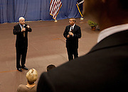 Sen. John McCain (L) and fellow Republican Sen. Lindsay Graham answer a question from the audience during a health care town hall meeting September 14, 2009 at the Citadel in Charleston, SC.