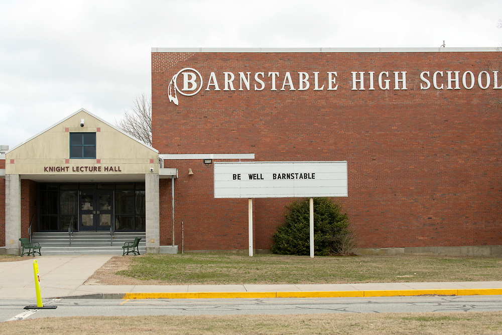 HYANNIS - A simple plea on the message board at Barnstable High School on Monday, March 23, 2020.