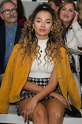© Licensed to London News Pictures. 17/09/2016. ELLA EYRE attends the  JASPER CONRAN Spring/Summer 2017 show. Models, buyers, celebrities and the stylish descend upon London Fashion Week for the Spring/Summer 2017 clothes collection shows. London, UK. Photo credit: Ray Tang/LNP