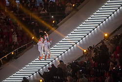 March 9, 2018 - Pyeongchang, U.S. - 09-03-2018 Pyeongchang, Korea ..Sport..Opening Ceremony of Pyeongchang 2018 Paralympic Games...In the photo: the  torchbearers, a visually impaired athlete and guide..YANG Jae Rim (KOR) and GO Eun Sori (KOR) (Photo by Mauro Ujetto/LaPresse/Icon Sportswire) ****NO AGENTS---NORTH AND SOUTH AMERICA SALES ONLY****NO AGENTS---NORTH AND SOUTH AMERICA SALES ONLY* (Credit Image: © Mauro Ujetto/Icon SMI via ZUMA Press)