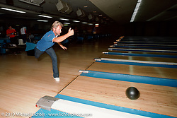 Arlen Ness back to where he started - bowling, which is how Arlen made the money to buy his first Harley-Davidson. Castro Valley, CA. Photograph ©Michael Lichter 1987