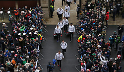 The England team arrive for the NatWest 6 Nations match at Twickenham Stadium, London.