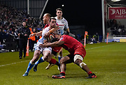 Saracens Alex Day makes a high tackle on Sale Sharks Luke James during a Premiership Rugby Cup Semi Final  won by Sale 28-7, Friday, Feb. 7, 2020, in Eccles, United Kingdom. (Steve Flynn/Image of Sport)