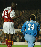 Photo: Javier Garcia/Back Page Images Mobile +447887 794393 Arsenal v Rosenborg, UEFA Champions League 07/12/04, Highbury<br />Is Sol Campbell supporting or about to slap Manuel Almunia