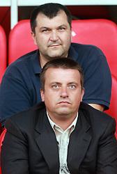 Goran Obrez and Joc Pececnik (down) at 7th Round of PrvaLiga Telekom Slovenije between NK Interblock vs NK Nafta Lendava, on September , 2008, in ZAK stadium in Ljubljana, Slovenia. Interblock won the match 3:1. (Photo by Vid Ponikvar / Sportal Images)